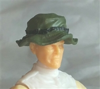 "Headgear: Boonie Hat GREEN & Black Version - 1:18 Scale Modular MTF Accessory for 3-3/4"" Action Figures"
