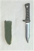 "Fighting Knife & Sheath: Small Size GREEN Version - 1:18 Scale Modular MTF Accessory for 3-3/4"" Action Figures"