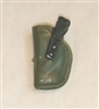 "Pistol Holster: Small Left Handed GREEN & Black Version - 1:18 Scale Modular MTF Accessory for 3-3/4"" Action Figures"