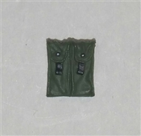 "Ammo Pouch: Double Magazine GREEN & Black Version - 1:18 Scale Modular MTF Accessory for 3-3/4"" Action Figures"