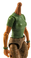MTF Female Valkyries T-Shirt Torso ONLY (NO WAIST/LEGS): GREEN & GREEN Version with TAN Skin Tone - 1:18 Scale Marauder Task Force Accessory