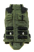 "Female Vest: High Collar Type Green & Black Version - 1:18 Scale Modular MTF Valkyries Accessory for 3-3/4"" Action Figures"