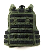 "Female Vest: Utility Type Green & Black Version - 1:18 Scale Modular MTF Valkyries Accessory for 3-3/4"" Action Figures"