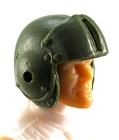 "Headgear: GREEN Flight Helmet - 1:18 Scale Modular MTF Accessory for 3-3/4"" Action Figures"