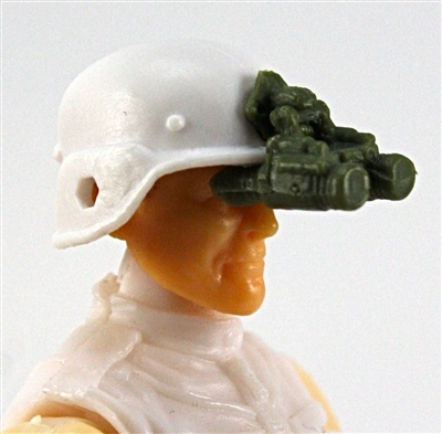 "Headgear: NVG Night Vision Goggles with Plug GREEN Version - 1:18 Scale Modular MTF Accessory for 3-3/4"" Action Figures"