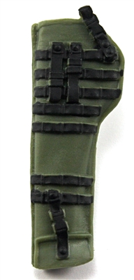 "Rifle Sheath Backpack: GREEN & BLACK Version - 1:18 Scale Modular MTF Accessory for 3-3/4"" Action Figures"