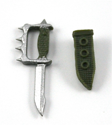 "Knuckle Knife with Sheath: Small Size GREEN Version - 1:18 Scale Modular MTF Accessory for 3-3/4"" Action Figures"