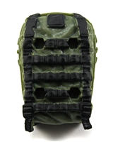 "Backpack: Modular Backpack  GREEN & BLACK Version - 1:18 Scale Modular MTF Accessory for 3-3/4"" Action Figures"