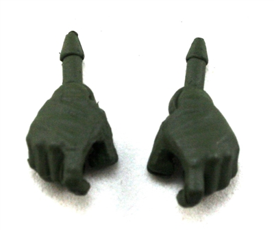 "Male Hands: Dark Green Full Gloves Right AND Left (Pair) - 1:18 Scale MTF Accessory for 3-3/4"" Action Figures"