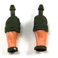 "Male Forearms: Bare with Green Rolled Up Sleeves Light Skin Tone - Right AND Left (Pair) - 1:18 Scale MTF Accessory for 3-3/4"" Action Figures"