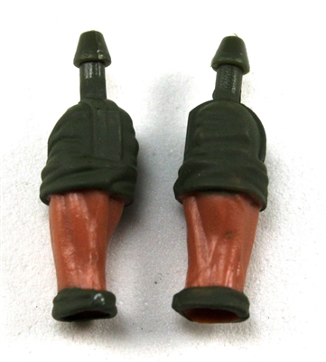 "Male Forearms: Bare with Green Rolled Up Sleeves Tan Skin Tone - Right AND Left (Pair) - 1:18 Scale MTF Accessory for 3-3/4"" Action Figures"