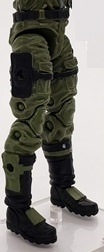 "Male Legs WITH Waist: Green & Black CLOTH Legs (NO Armor) - Right AND Left Legs WITH Waist - 1:18 Scale MTF Accessory for 3-3/4"" Action Figures"