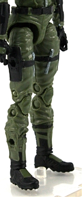 "Female Legs WITH Waist: GREEN with BLACK Legs  - Right AND Left Legs WITH Waist - 1:18 Scale MTF Valkyries Accessory for 3-3/4"" Action Figures"