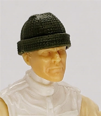 "Headgear: Knit Cap ""Ski Cap"" GREEN Version - 1:18 Scale Modular MTF Accessory for 3-3/4"" Action Figures"