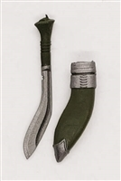 "Kukri Knife & Sheath: GREEN Version - 1:18 Scale Modular MTF Accessory for 3-3/4"" Action Figures"
