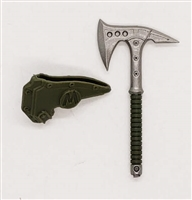 "Tactical Axe ""Tomahawk"" & Sheath: GREEN Version - 1:18 Scale Modular MTF Accessory for 3-3/4"" Action Figures"