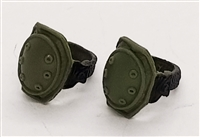 "Knee Pads with Strap GREEN & Black Version (PAIR) - 1:18 Scale Modular MTF Accessory for 3-3/4"" Action Figures"