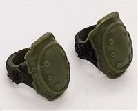 "Elbow Pads with Strap GREEN & Black Version (PAIR) - 1:18 Scale Modular MTF Accessory for 3-3/4"" Action Figures"