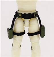 "Belt with Drop Down Leg Holster: GREEN & Black Version - 1:18 Scale Modular MTF Accessory for 3-3/4"" Action Figures"