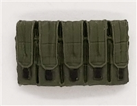 "Ammo Pouch: 5 Pocket Magazine Pouch GREEN & Black Version - 1:18 Scale Modular MTF Accessory for 3-3/4"" Action Figures"