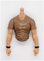 MTF Male Trooper T-Shirt Shirt Torso (NO Legs OR Head): BROWN Version with LIGHT Skin Tone - 1:18 Scale Marauder Task Force Accessory