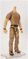 "MTF Male Body WITHOUT Head - BROWN SHIRT & BROWN PANTS  ""Contract-Ops"" Light Skin Version - 1:18 Scale Marauder Task Force Action Figure"