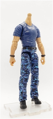 "PRE-ORDER: MTF Male Body WITHOUT Head - BLUE T-SHIRT & BLUE CAMO PANTS  ""Contract-Ops"" LIGHT Skin Version - 1:18 Scale Marauder Task Force Action Figure"