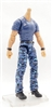 "PRE-ORDER: MTF Male Body WITHOUT Head - BLUE SHIRT & BLUE CAMO PANTS  ""Contract-Ops"" TAN Skin Version - 1:18 Scale Marauder Task Force Action Figure"