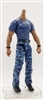 "MTF Male Body WITHOUT Head - BLUE SHIRT & BLUE CAMO PANTS  ""Contract-Ops"" DARK Skin Version - 1:18 Scale Marauder Task Force Action Figure"