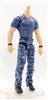 "MTF Male Body WITHOUT Head - BLUE T-SHIRT & BLUE CAMO PANTS  ""Contract-Ops"" LIGHT-TAN Skin Version - 1:18 Scale Marauder Task Force Action Figure"