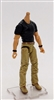 "MTF Male Body WITHOUT Head - BLACK SHIRT & TAN PANTS  ""Contract-Ops"" LIGHT Skin Version - 1:18 Scale Marauder Task Force Action Figure"