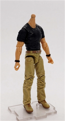 "PRE-ORDER: MTF Male Body WITHOUT Head - BLACK SHIRT & TAN PANTS  ""Contract-Ops"" LIGHT Skin Version - 1:18 Scale Marauder Task Force Action Figure"