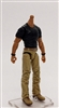 "MTF Male Body WITHOUT Head - BLACK SHIRT & TAN PANTS  ""Contract-Ops"" TAN Skin Version - 1:18 Scale Marauder Task Force Action Figure"