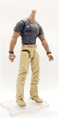 "MTF Male Body WITHOUT Head - BLACK SHIRT & TAN PANTS  ""Contract-Ops"" DARK Skin Version - 1:18 Scale Marauder Task Force Action Figure"