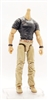 "MTF Male Body WITHOUT Head - BLACK SHIRT & TAN PANTS  ""Contract-Ops"" LIGHT TAN Skin Version - 1:18 Scale Marauder Task Force Action Figure"