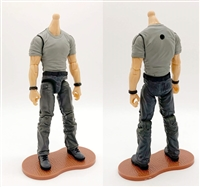 "PRE-ORDER: MTF Male Body WITHOUT Head - GRAY T-SHIRT & DARK GRAY PANTS  ""Contract-Ops"" LIGHT Skin Version - 1:18 Scale Marauder Task Force Action Figure"