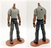 "MTF Male Body WITHOUT Head - GRAY T-SHIRT & DARK GRAY PANTS  ""Contract-Ops"" DARK Skin Version - 1:18 Scale Marauder Task Force Action Figure"