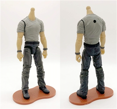 "PRE-ORDER: MTF Male Body WITHOUT Head - GRAY T-SHIRT & DARK GRAY PANTS  ""Contract-Ops"" LIGHT-TAN Skin Version - 1:18 Scale Marauder Task Force Action Figure"