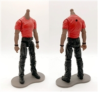 "PRE-ORDER: MTF Male Body WITHOUT Head - RED T-SHIRT & BLACK PANTS  ""Contract-Ops"" DARK Skin Version - 1:18 Scale Marauder Task Force Action Figure"