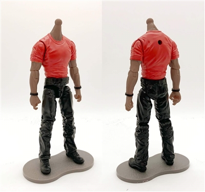 "MTF Male Body WITHOUT Head - RED T-SHIRT & BLACK PANTS  ""Contract-Ops"" DARK Skin Version - 1:18 Scale Marauder Task Force Action Figure"