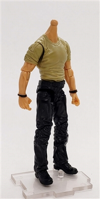 "MTF Male Body WITHOUT Head - TAN SHIRT & BLACK PANTS  ""Contract-Ops"" Light Skin Version - 1:18 Scale Marauder Task Force Action Figure"