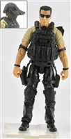"DELUXE MTF Male ""Contract-Ops"" - TAN SHIRT, BLACK PANTS & BLACK GEAR (Light Skin Version) - 1:18 Scale Marauder Task Force Action Figure"