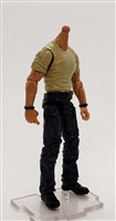 "MTF Male Body WITHOUT Head - TAN SHIRT & BLACK PANTS  ""Contract-Ops"" TAN Skin Version - 1:18 Scale Marauder Task Force Action Figure"