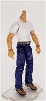 "MTF Male Body WITHOUT Head - WHITE SHIRT & BLUE PANTS  ""Contract-Ops"" Light Skin Version - 1:18 Scale Marauder Task Force Action Figure"
