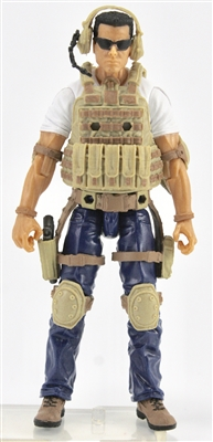"DELUXE MTF Male ""Contract-Ops"" - WHITE SHIRT, BLUE PANTS & TAN GEAR (Light Skin Version) - 1:18 Scale Marauder Task Force Action Figure"
