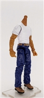 "MTF Male Body WITHOUT Head - WHITE SHIRT & BLUE PANTS  ""Contract-Ops"" TAN Skin Version - 1:18 Scale Marauder Task Force Action Figure"
