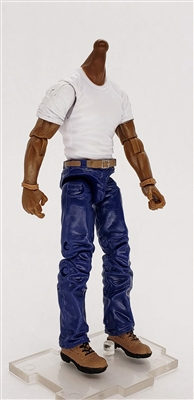 "PRE-ORDER: MTF Male Body WITHOUT Head - WHITE SHIRT & BLUE PANTS  ""Contract-Ops"" DARK Skin Version - 1:18 Scale Marauder Task Force Action Figure"