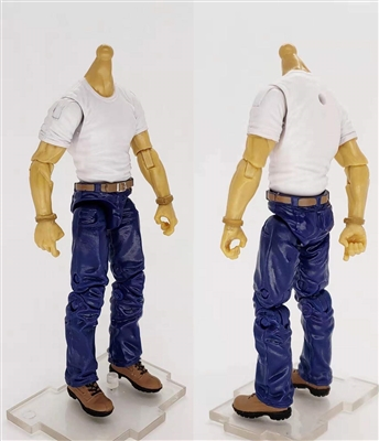 "MTF Male Body WITHOUT Head - WHITE SHIRT & BLUE PANTS  ""Contract-Ops"" LIGHT TAN Skin Version - 1:18 Scale Marauder Task Force Action Figure"