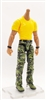 "MTF Male Body WITHOUT Head - YELLOW SHIRT & GREEN CAMO PANTS  ""Contract-Ops"" TAN Skin Version - 1:18 Scale Marauder Task Force Action Figure"