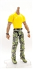 "MTF Male Body WITHOUT Head - YELLOW SHIRT & GREEN CAMO PANTS  ""Contract-Ops"" DARK Skin Version - 1:18 Scale Marauder Task Force Action Figure"